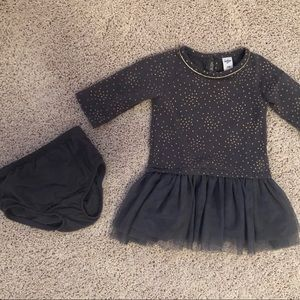 OshKosh charcoal gray & gold glitter dot dress 24M